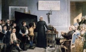 Gonzague Privat (1843- ?), l'Abbé de l'Épée instruisant ses élèves en présence de Louis XVI, INJS de Paris