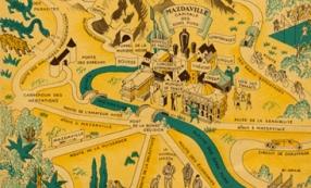 Illustration de Raoul Auger, Carte du Royaume de radiophonie, publiée dans une brochure de la Compagnie des lampes Mazda, 1933-1934. Source : collection du Musée de Radio France.